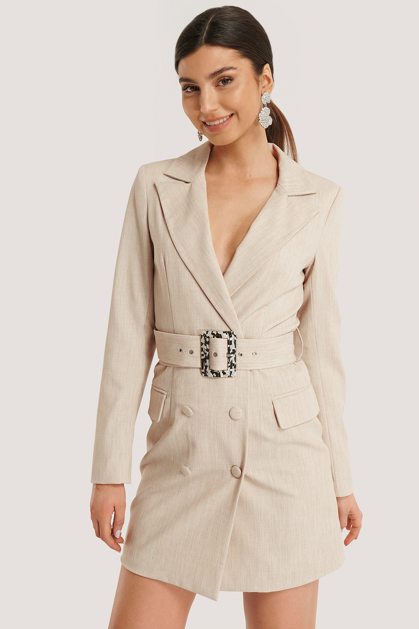 Beige Big Belted Blazer Dress