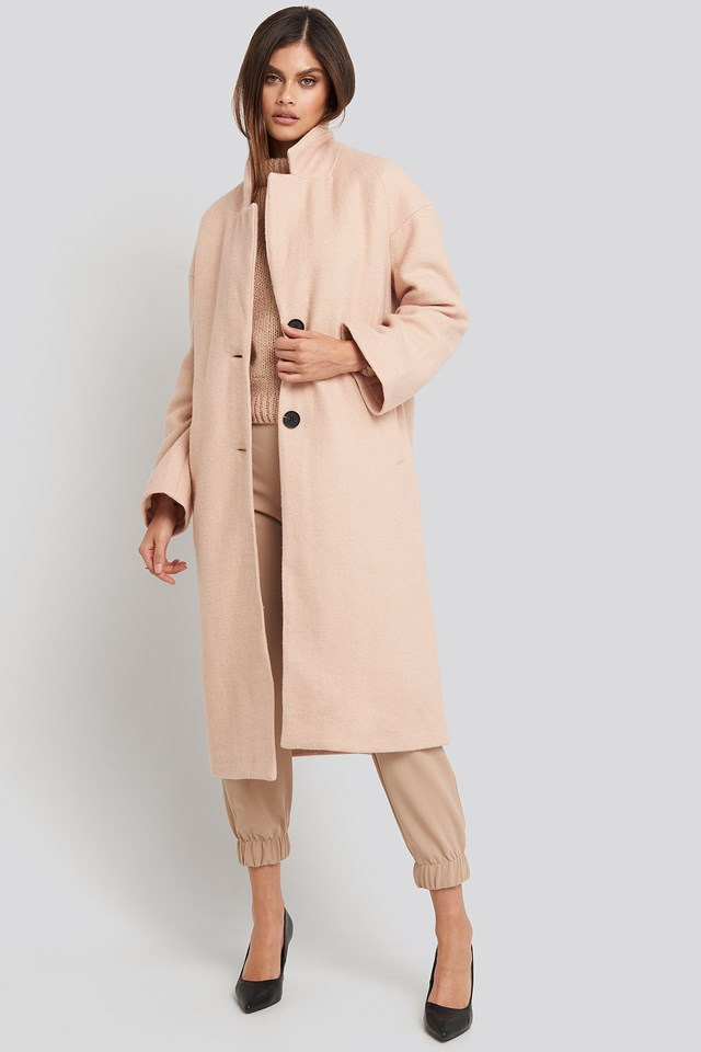 Big Button Long Coat Light Beige