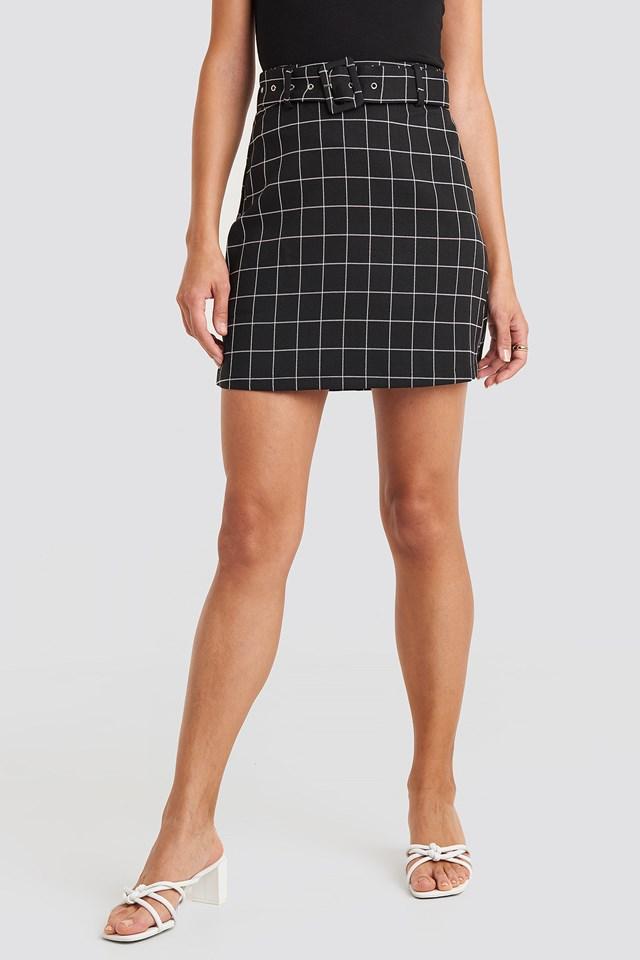 Big Check Belted Mini Skirt Black/White Check