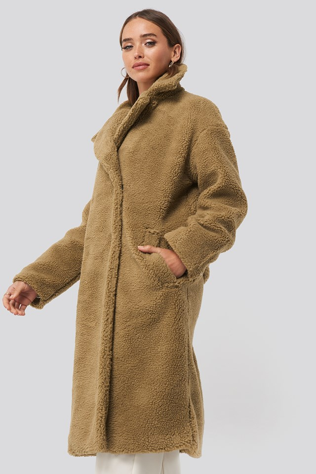 Big Collar Teddy Coat Brown