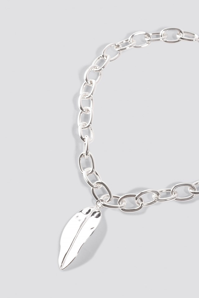Big Leave Chain Necklace Silver