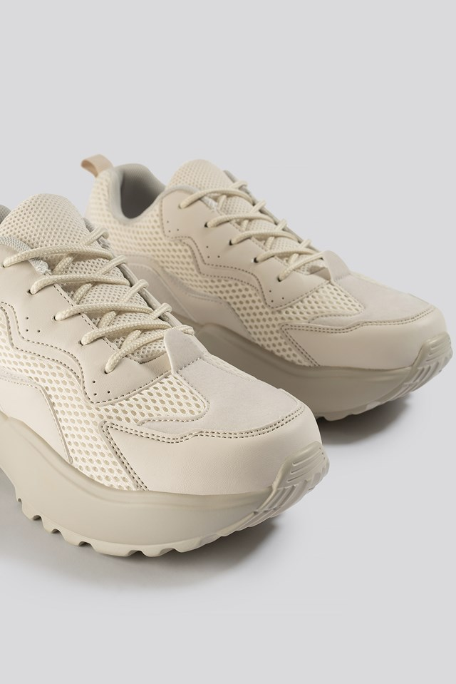 Big Mesh Rubber Detail Trainers Nude