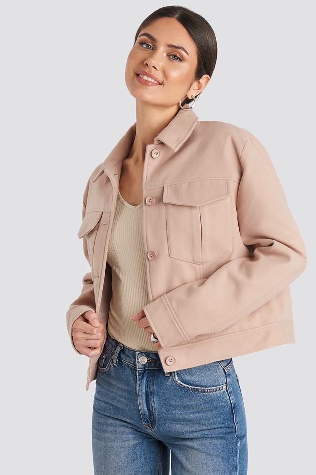 Big Pocket Short Jacket Dusty Pink