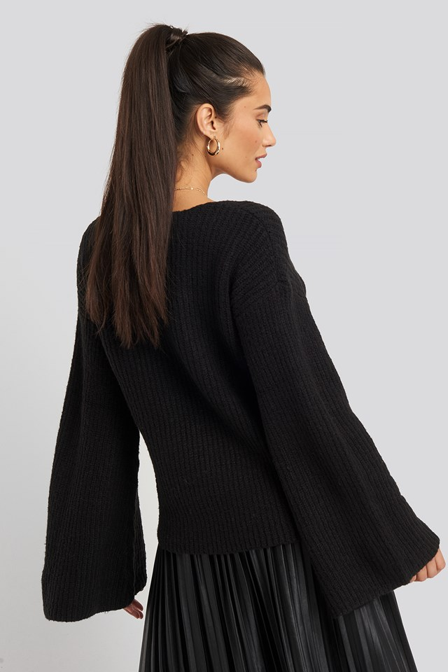 Big Sleeve Knitted Sweater Black