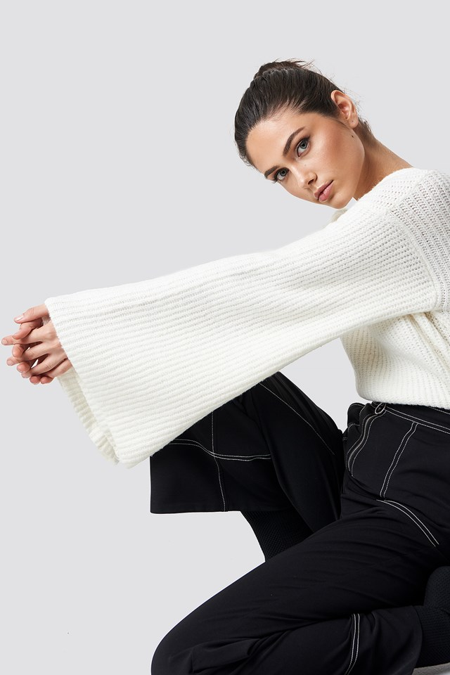 Big Sleeve Knitted Sweater Offwhite