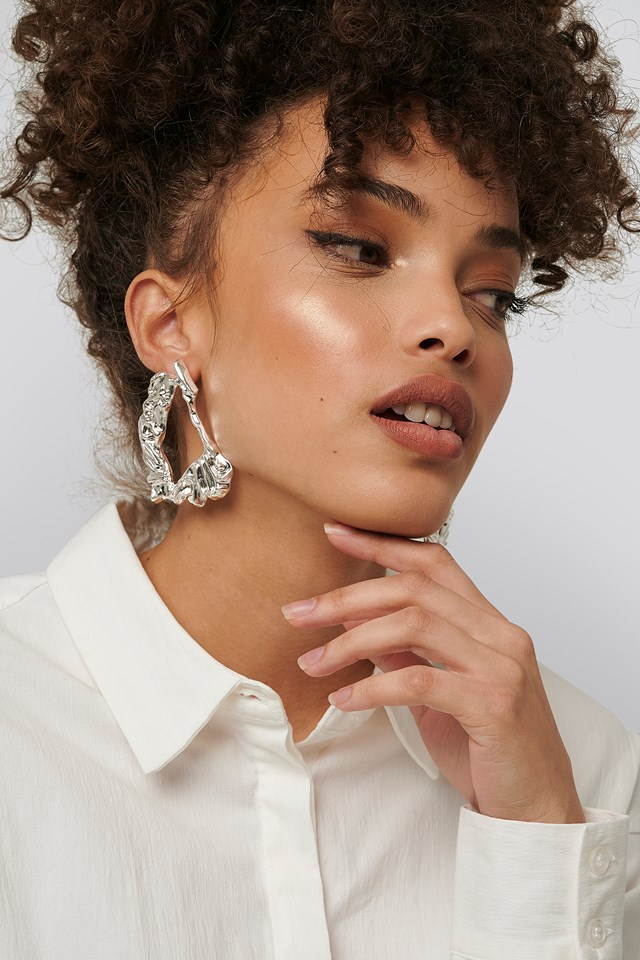 Big Smashed Earrings Silver