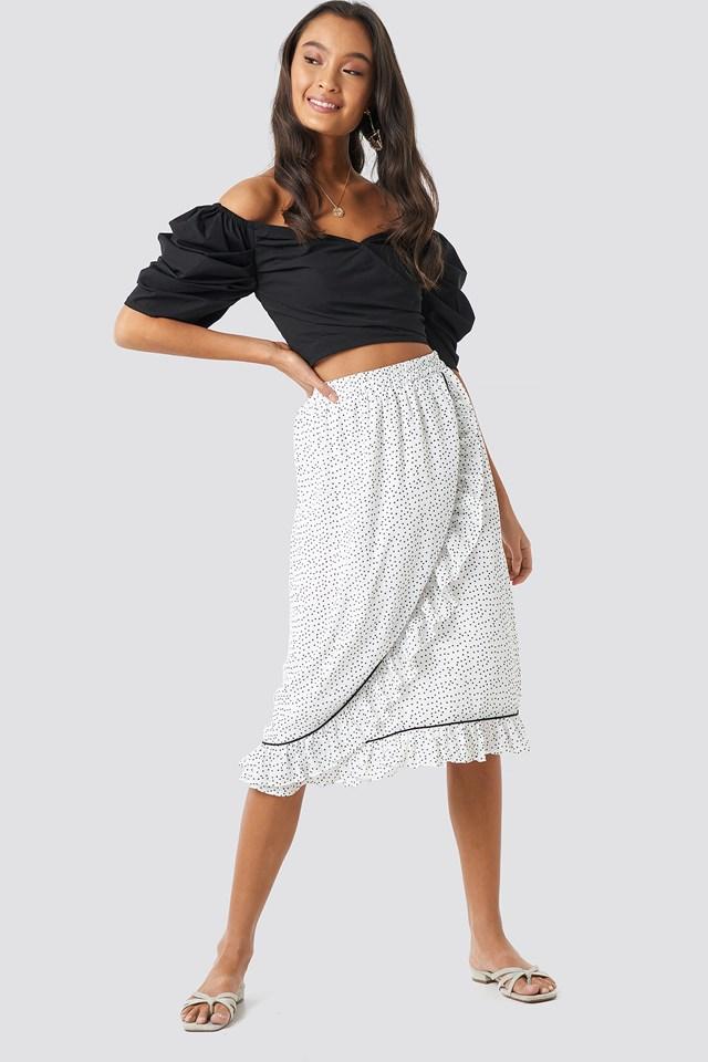 Binding Detail Dot Skirt White/Black Dot