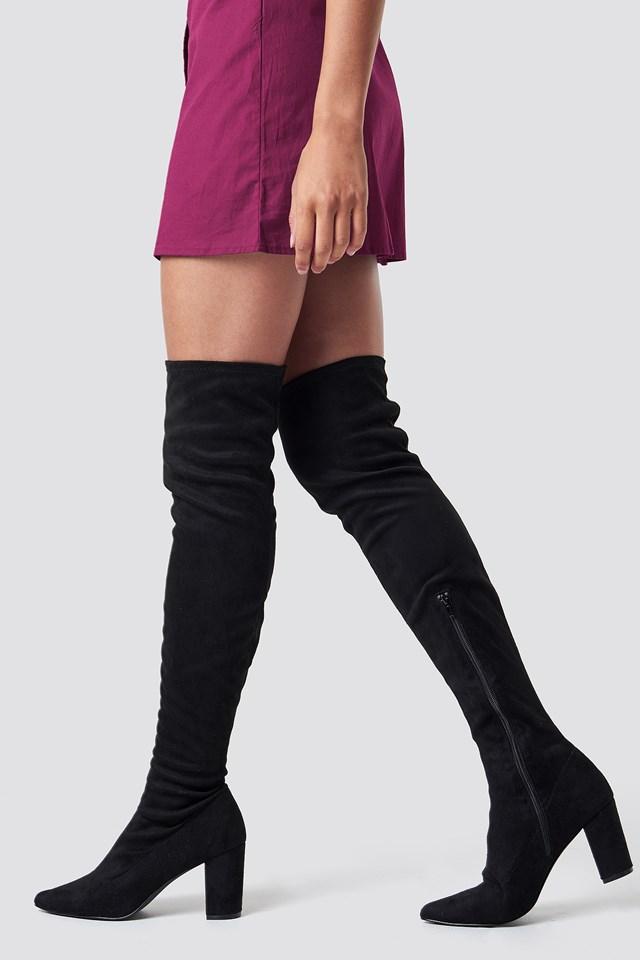Block Heel Thigh High Boots NA-KD Shoes