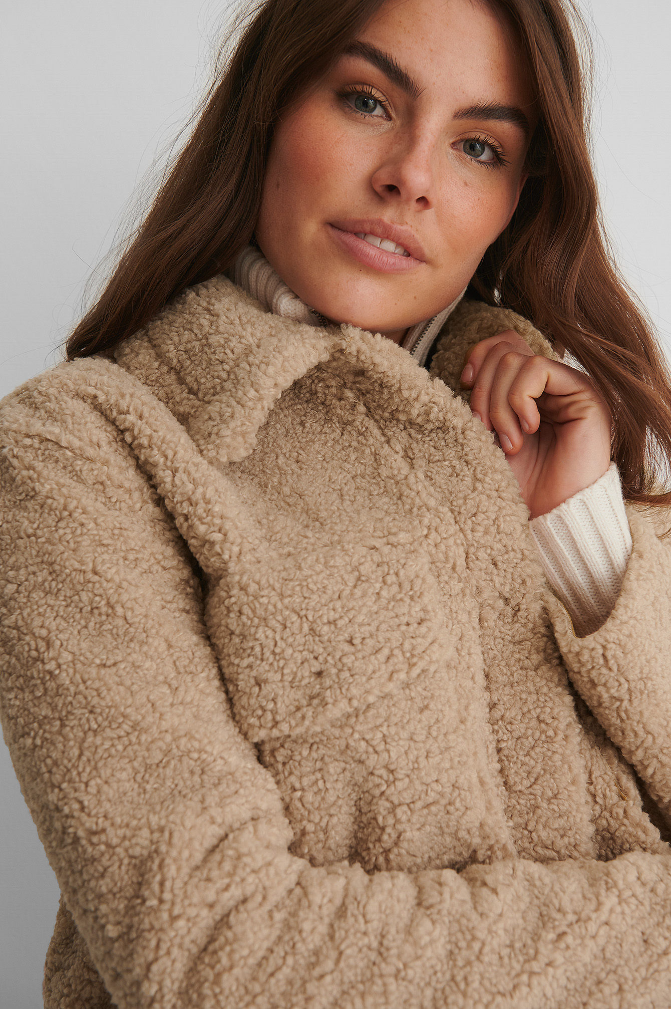 Beige Bonded Teddy Jacket