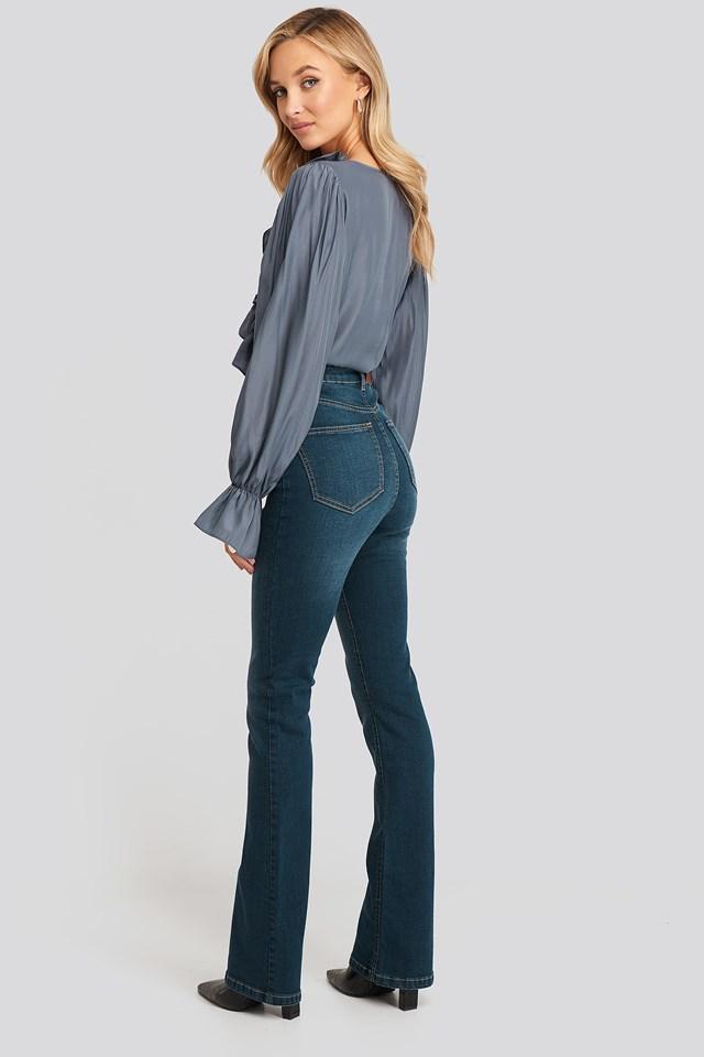Skinny Bootcut Jeans Dark Blue