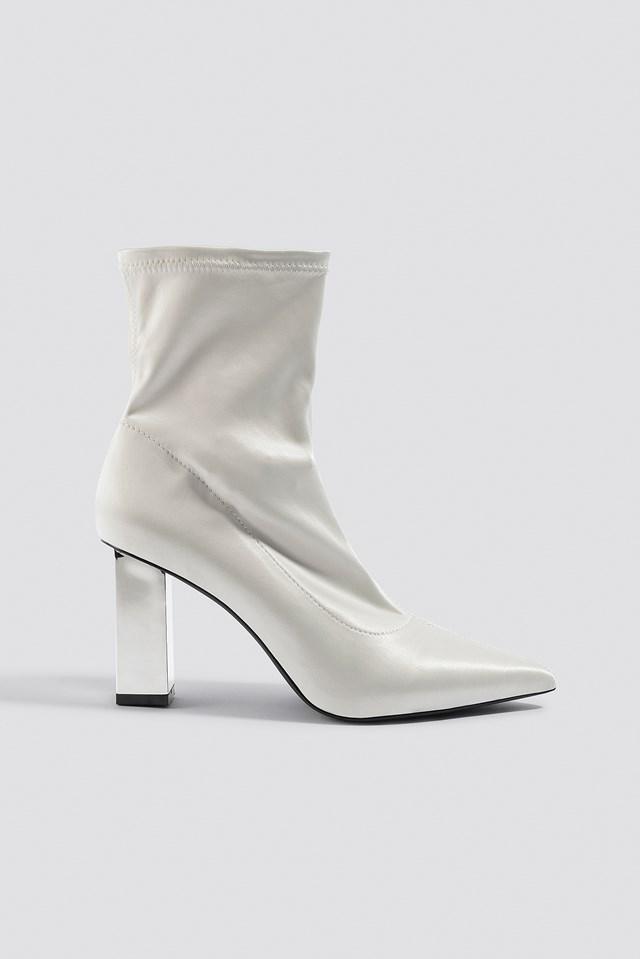 Metallic Block Heel Sock Boots NA-KD Shoes