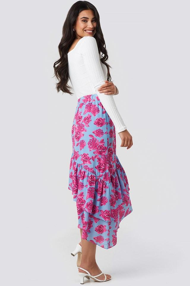 Bottom Frill Midi Skirt Pink Roses