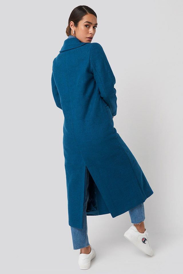 Double Breasted Long Coat Blue