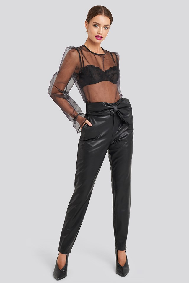 Bow Detail Faux Leather Pants NA-KD Party