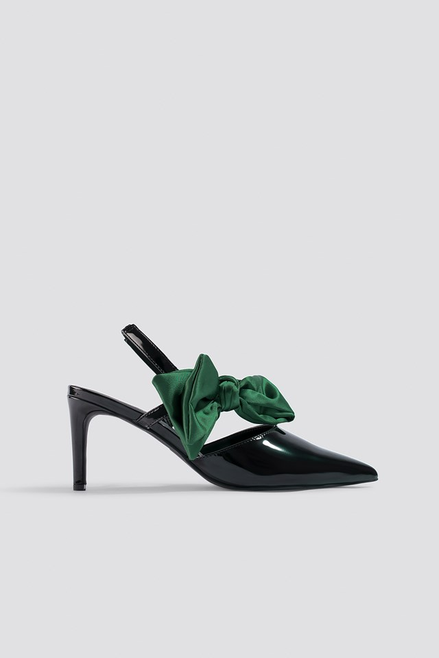 Bow Detail Pointy Heels Black