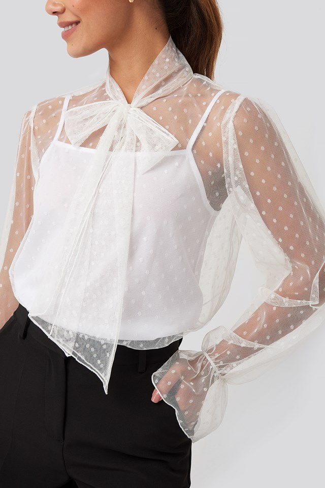 Bow Tie Dotted Mesh Blouse White