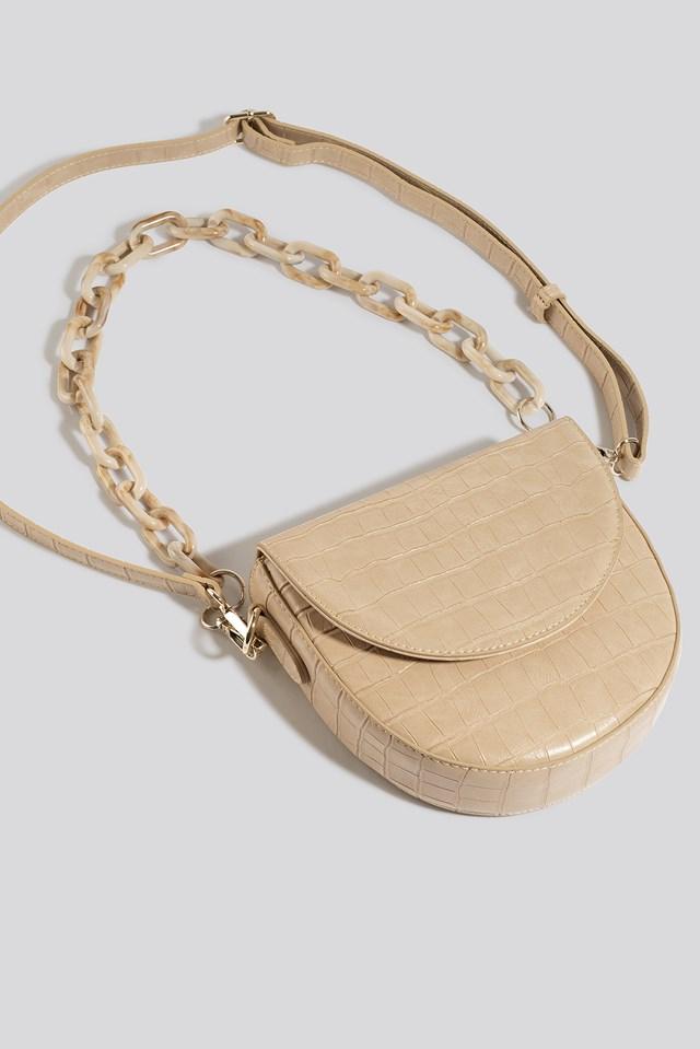 Boxy Half Moon Shoulder Bag Nude Croco