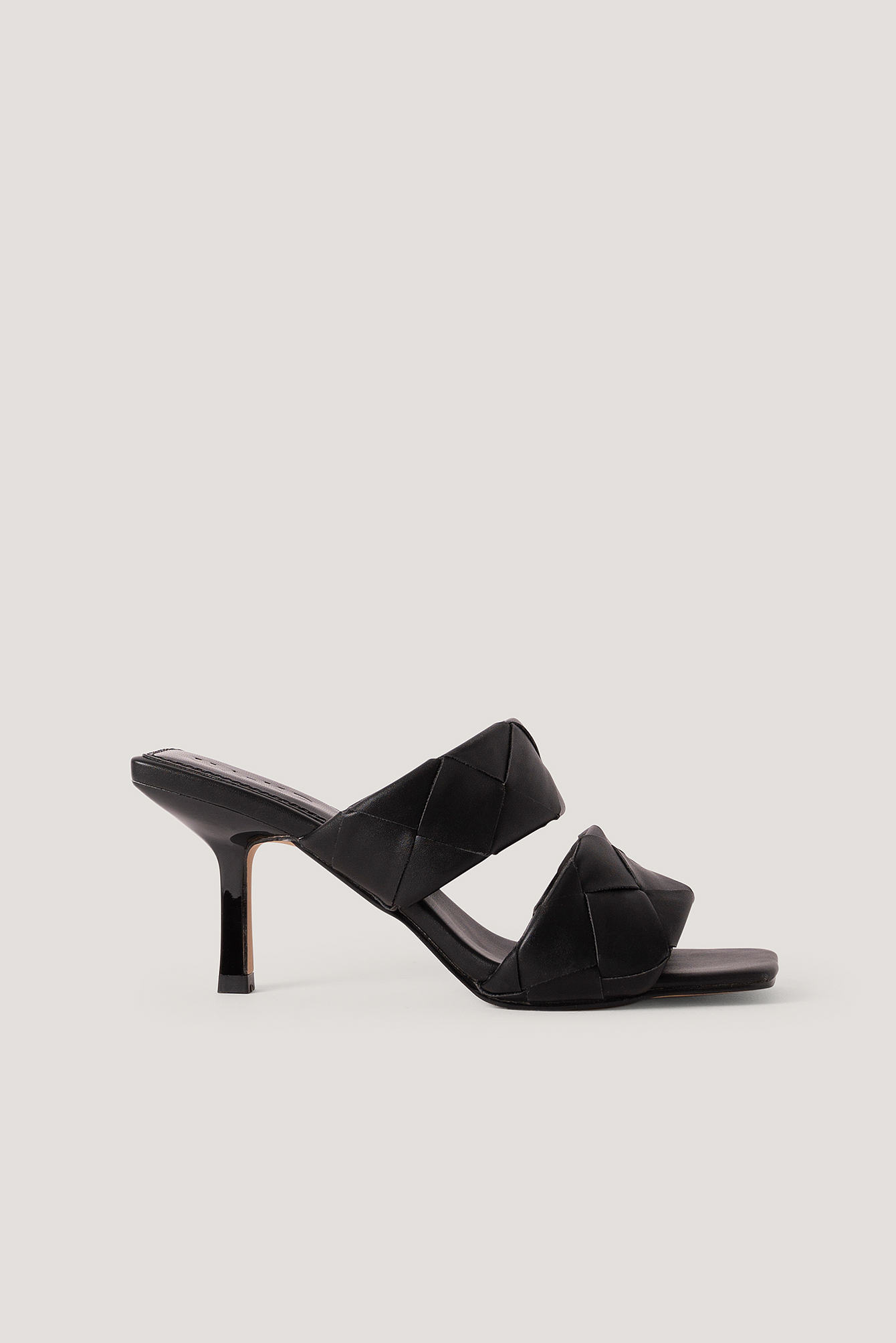 Black Braided Double Strap Mule