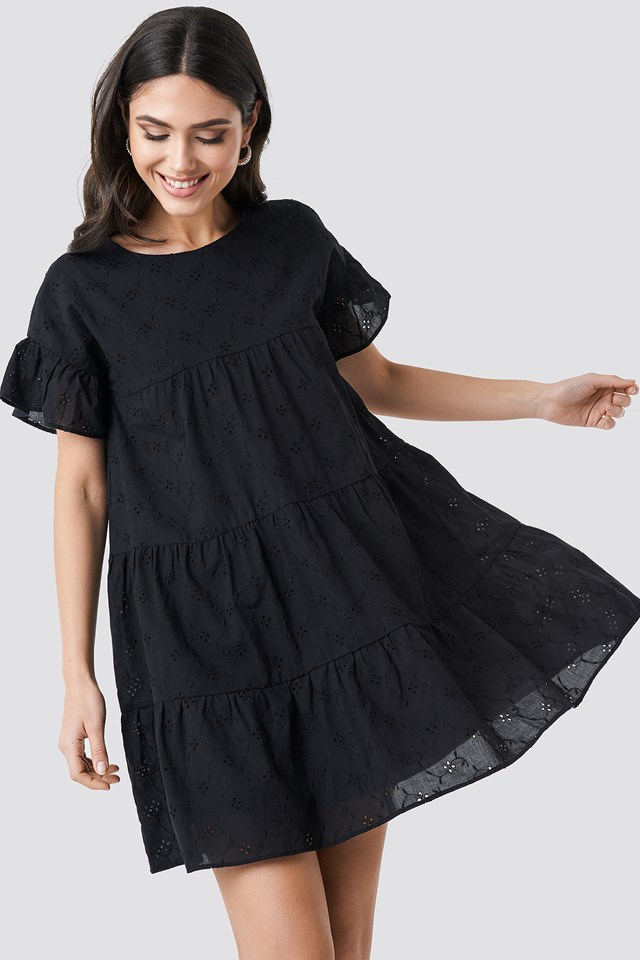 Broiderie Anglais Mini Dress Black