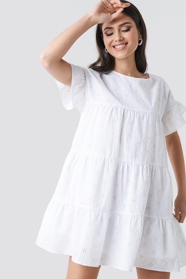 Broiderie Anglais Mini Dress White