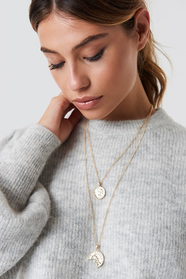 Broken Vintage Coin Necklace Gold