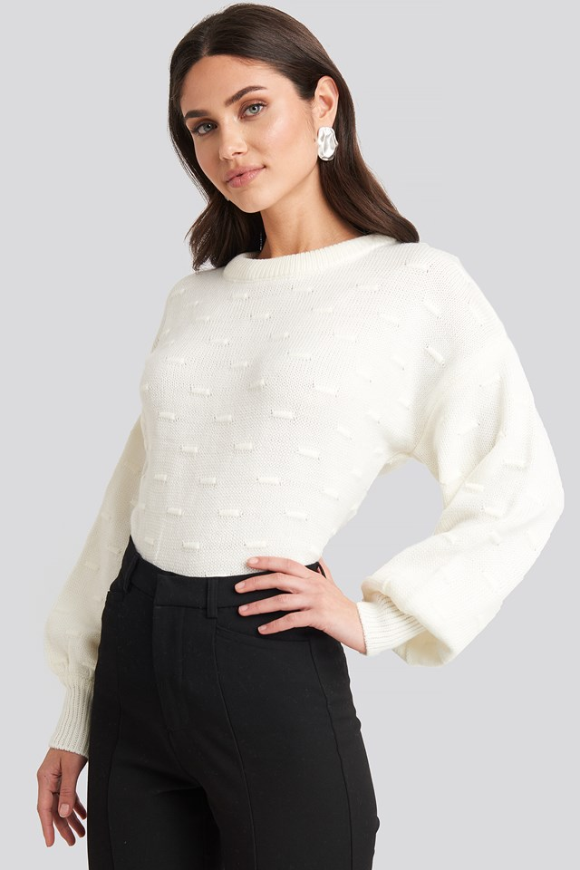 Bubble Stitch Balloon Sleeve Knitted Sweater Offwhite