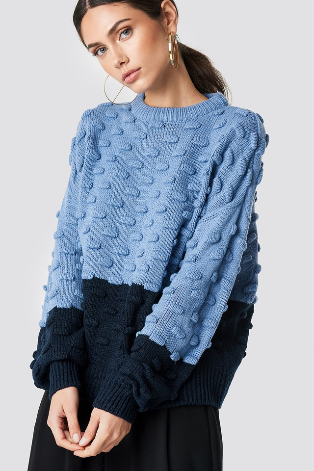 Bubble Stitch Knitted Sweater Blue