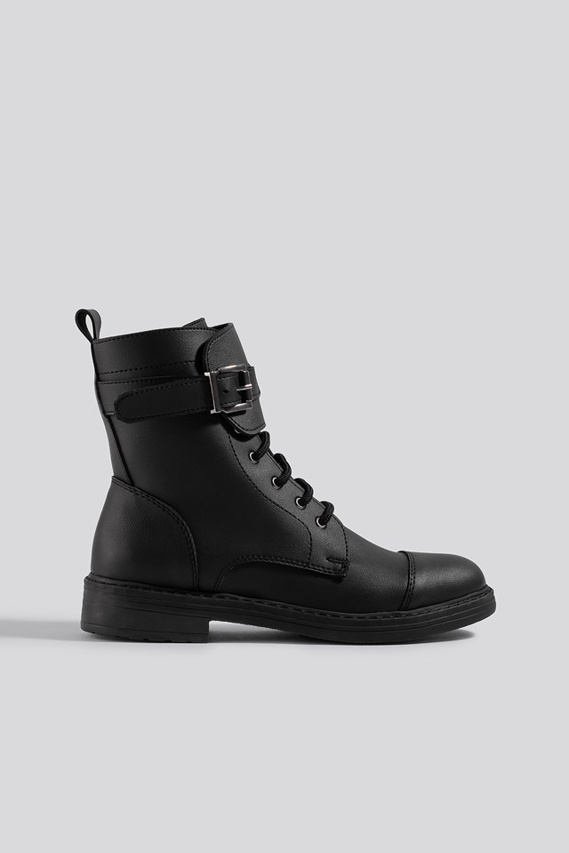 Buckled Combat Boot Black