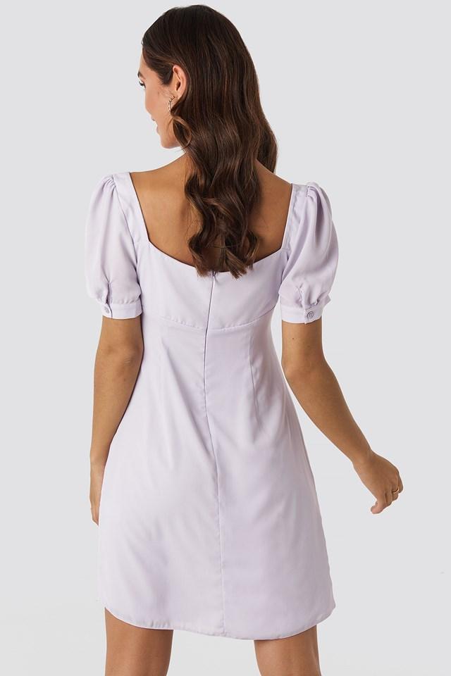 Bust Puff Sleeve Mini Dress Lilac
