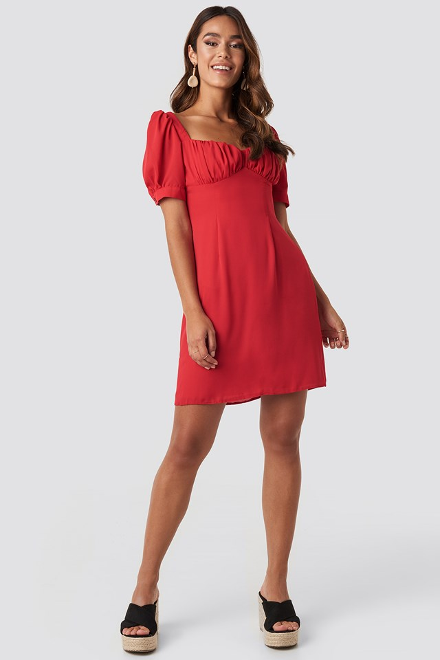 Bust Puff Sleeve Mini Dress Red