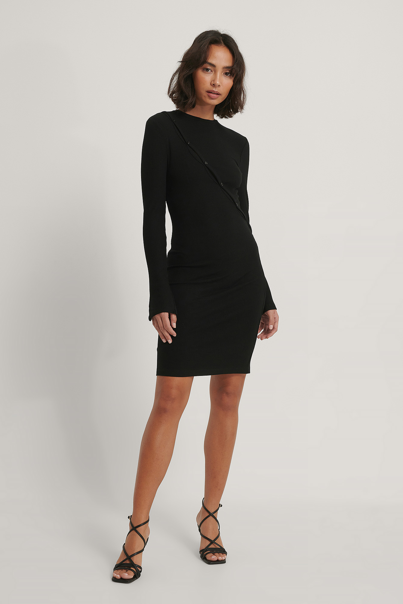 Black Button Detail Jersey Dress