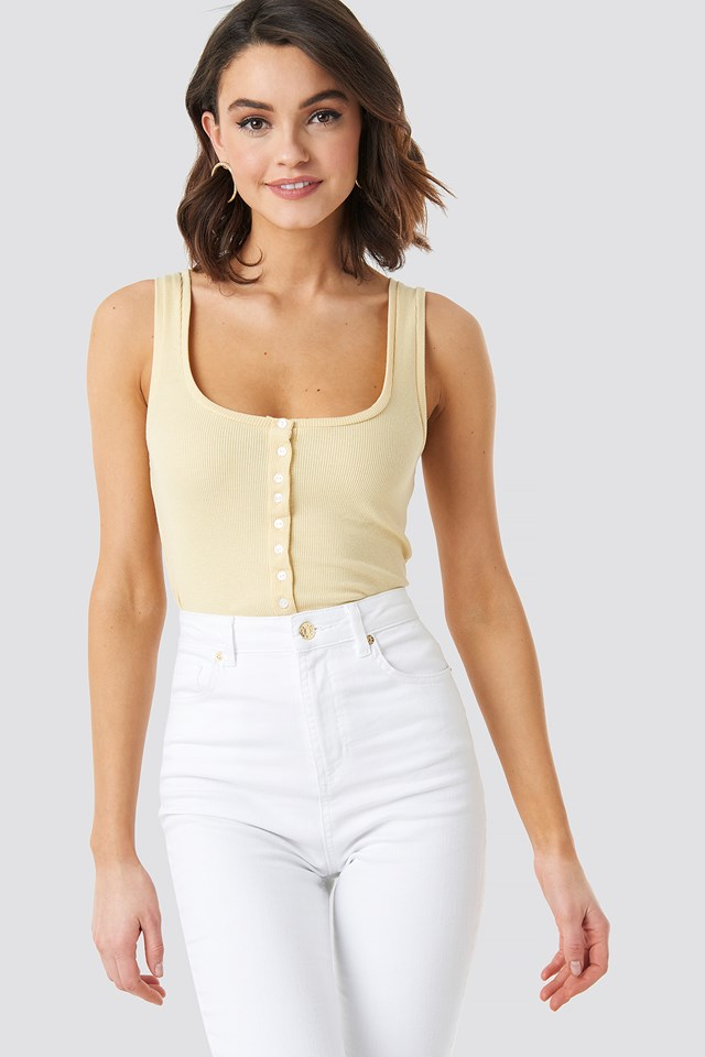 Button Ribbed Tank Top Light Yellow
