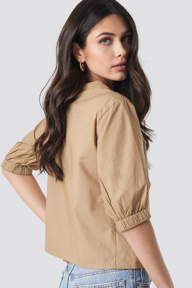 Button Short Sleeve Blouse Beige