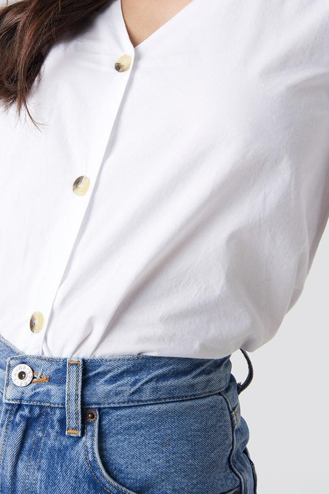 Button Short Sleeve Blouse White