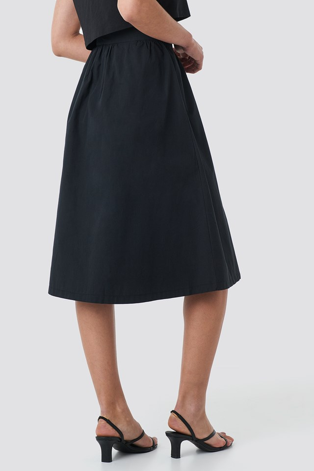 Button Up Midi Skirt Black