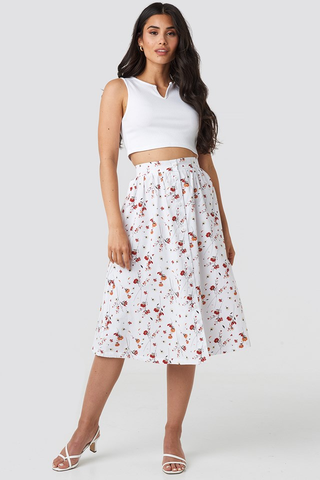 Button Up Midi Skirt Floral Print