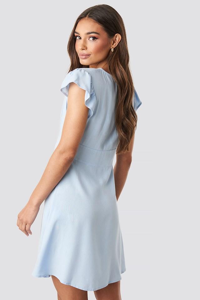 Button Up Mini Dress Blue