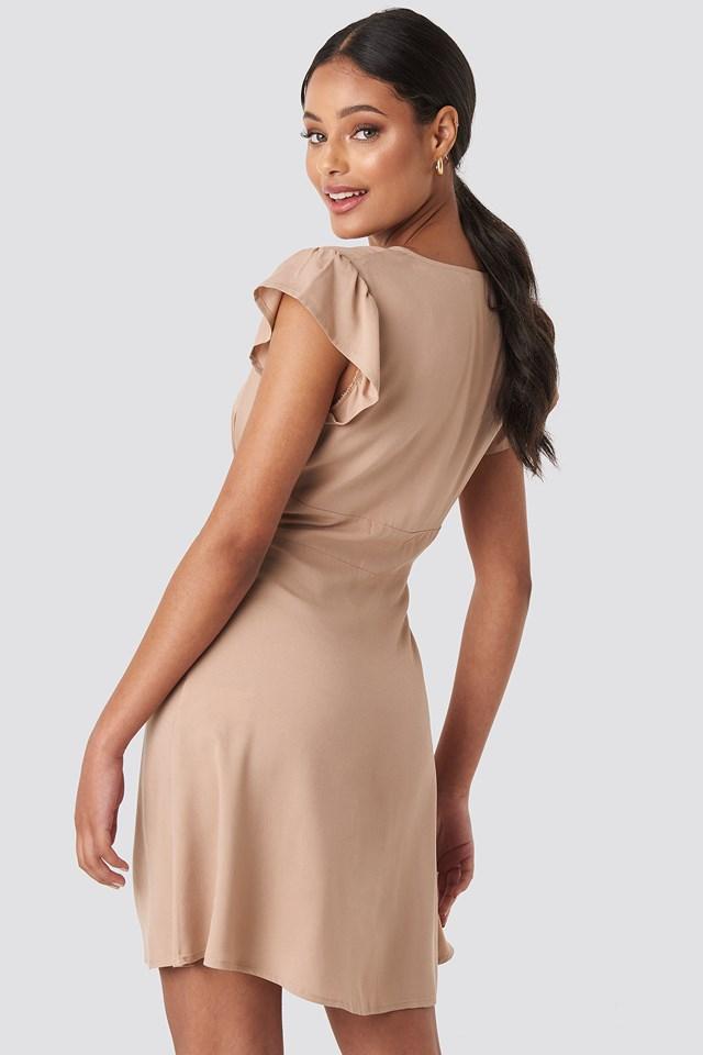 Button Up Mini Dress Beige