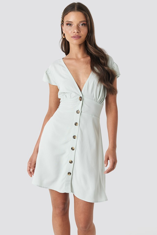Button Up Mini Dress Mint