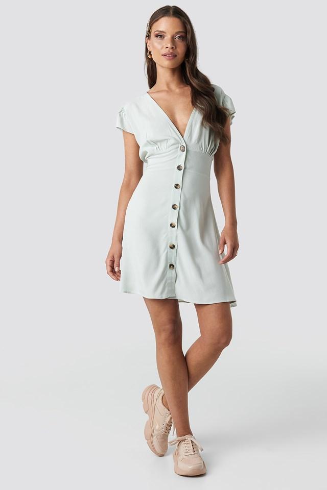 Button Up Mini Dress Mint