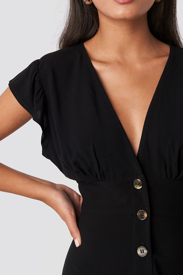 Button Up Mini Dress Deep Black