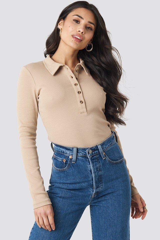 Button Up Ribbed Top Light Beige