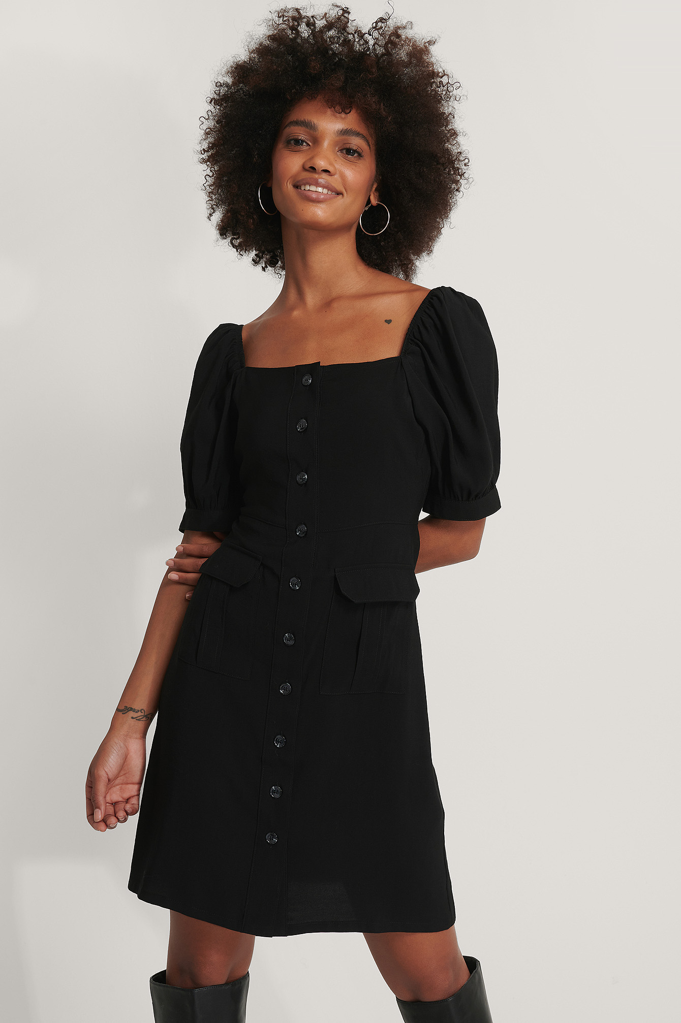 Black Button Up Short Puff Sleeve Dress