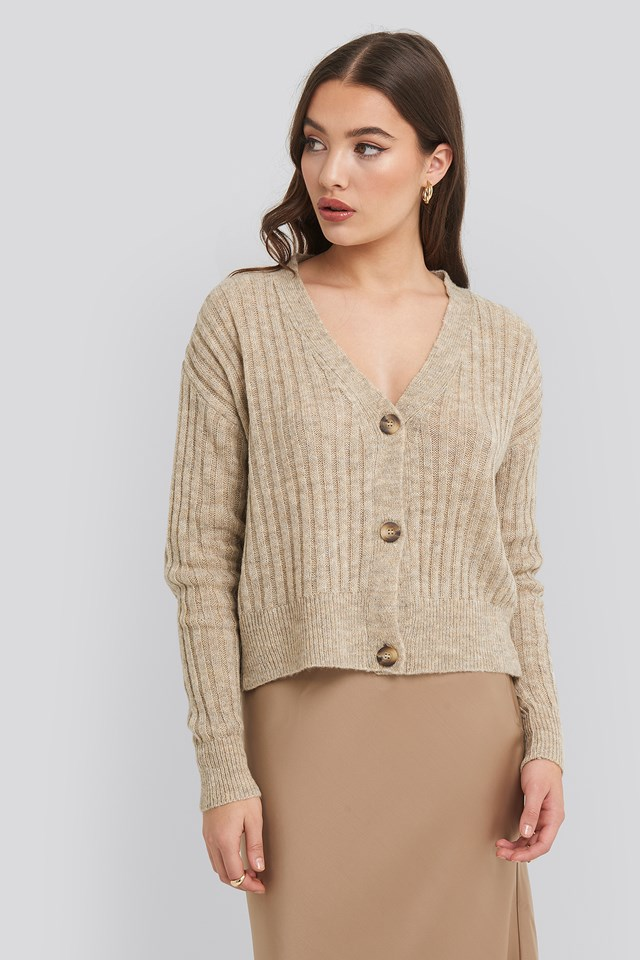 Button Up Ribbed Cropped Cardigan NA-KD