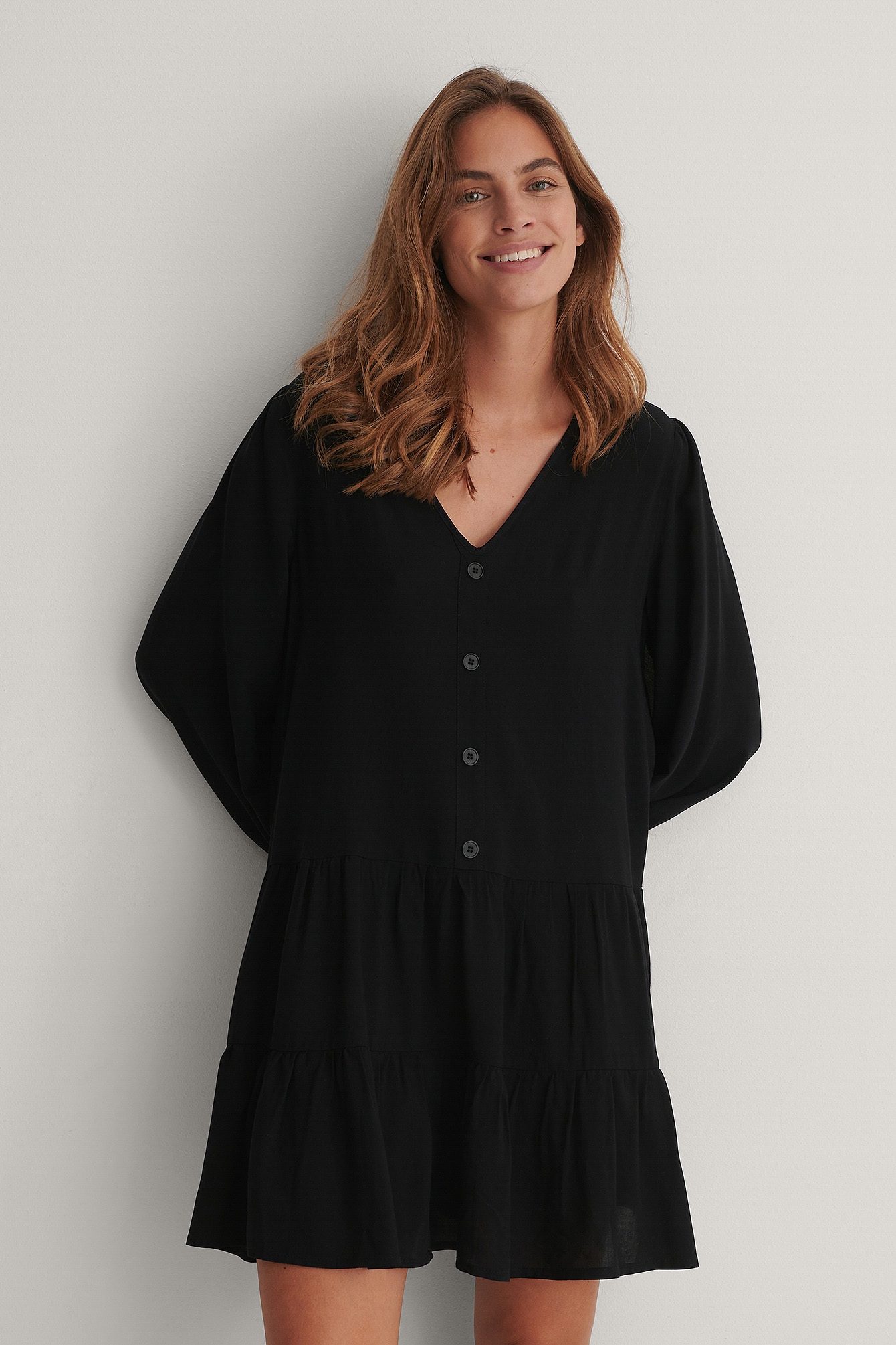 Black Buttoned Flowy V-Neck Dress