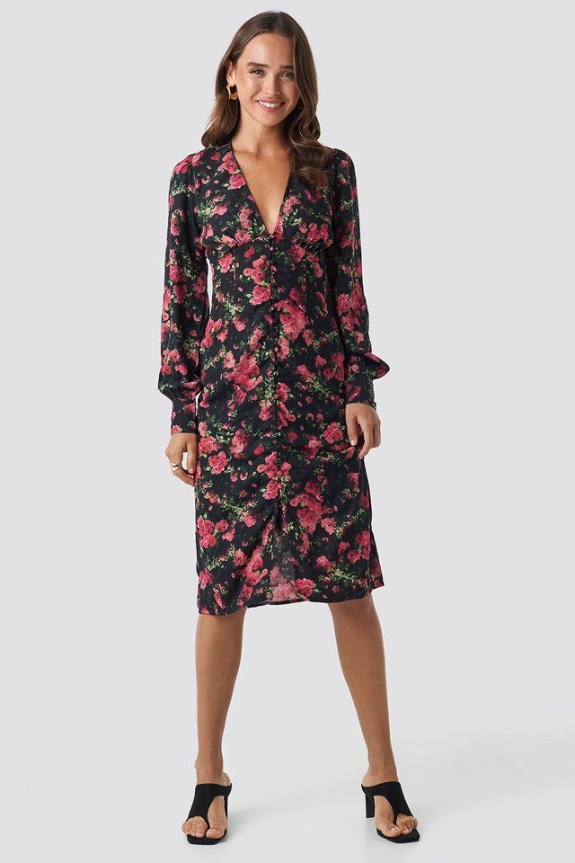 Buttoned Front V-Neck Dress Rose Bush Pattern