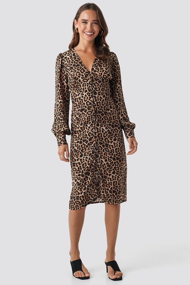 Buttoned Front V-Neck Dress Leoprint