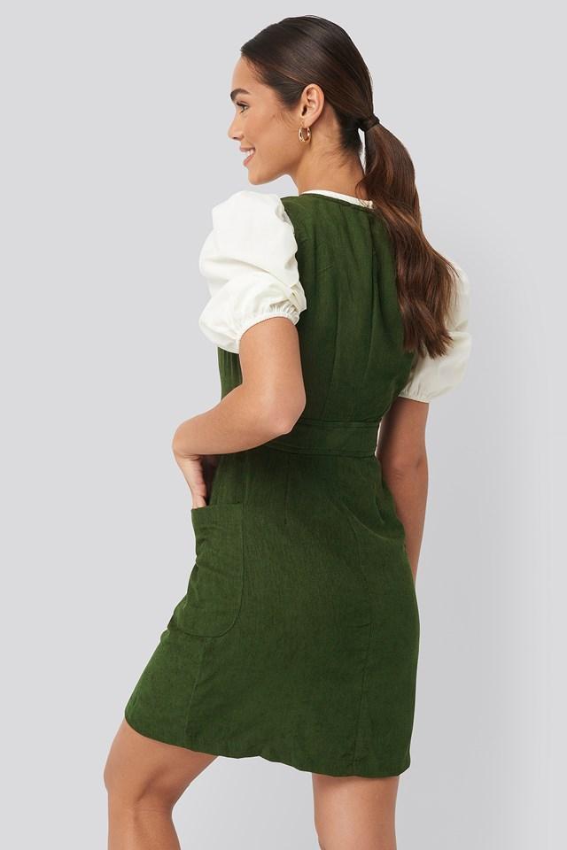 Buttoned Gilet Mini Dress Khaki