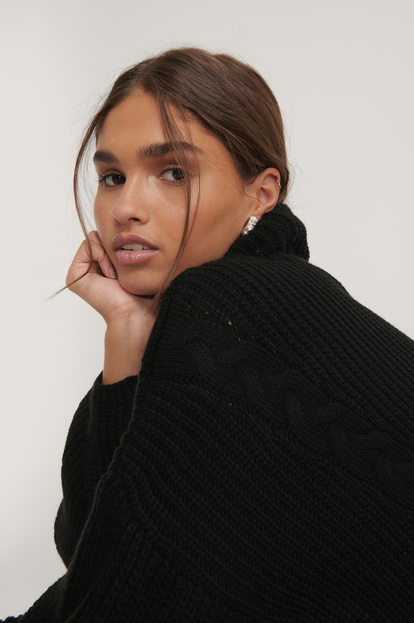 Black Cable Detail Oversized Knitted Sweater