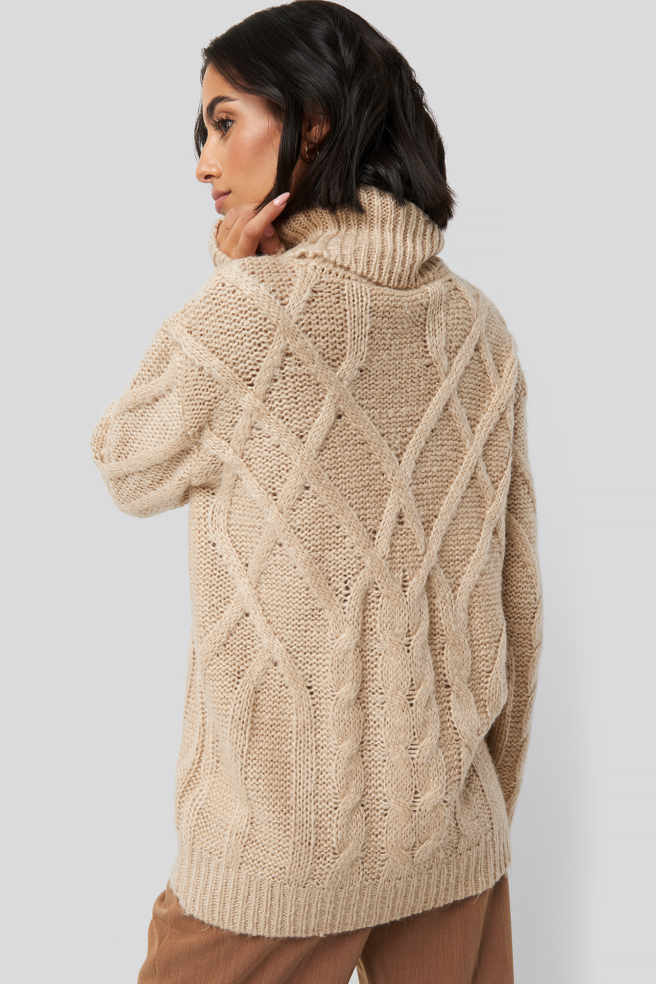 Light Beige Cable Knitted High Neck Sweater